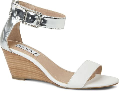 Steve Madden Nanncy Leather Wedge Sandals In White (silver