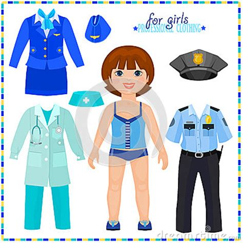 paper doll   set  professional clothings stock