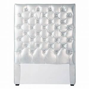Tete Lit Capitonnée : t te de lit capitonn e argent l 90 cm chesterfield ~ Premium-room.com Idées de Décoration