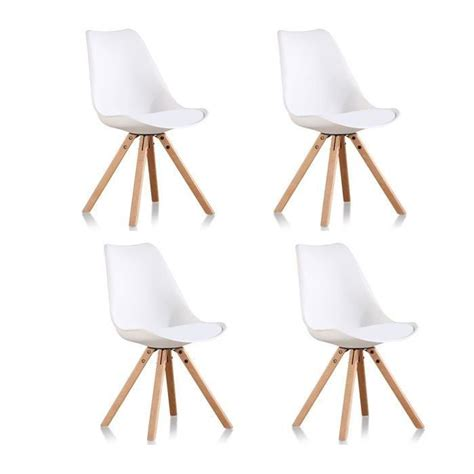 lot 4 chaises salle 224 manger design blanches helsinki achat vente chaise blanc pied bois