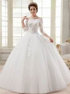 three quarter sleeve boat neck wedding gown 2505984 With three quarter sleeve wedding dress
