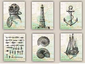 Nautical art prints antique map east coast america set of for Antique wall decor