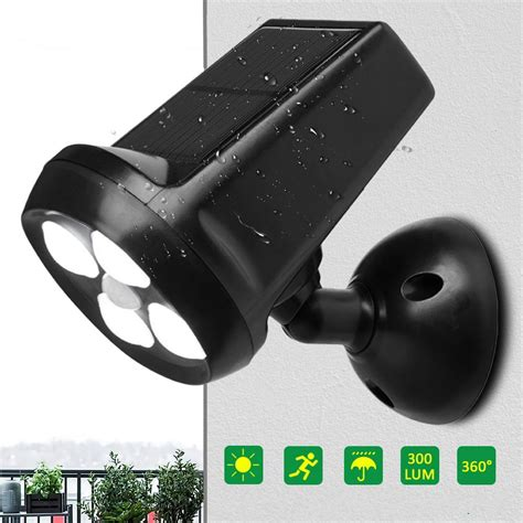 waterproof ip65 4 led solar light bright motion sensor