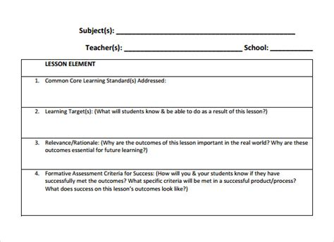 Examples Of Lesson Plan Templates Costumepartyrun