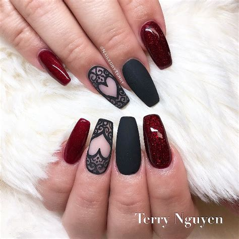 stylish red  black nail designs youll love