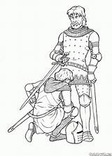 Coloring Archer Norman Knighted Knights Soldiers sketch template