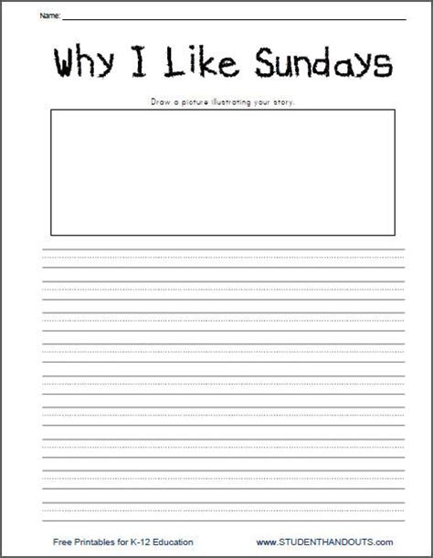 Article Template Ingles by Why I Like Sundays Free Printable K 2 Writing Prompt