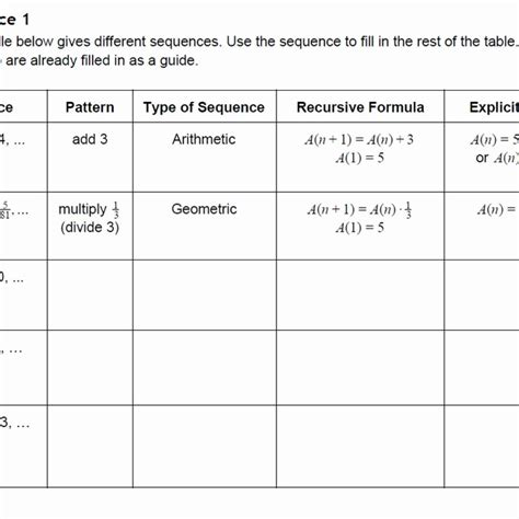 arithmetic sequence worksheet answers the best and most