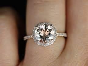 verlobungsring rosegold amoureux taille kubian 14kt or morganite et diamants halo bague de fiançailles autres
