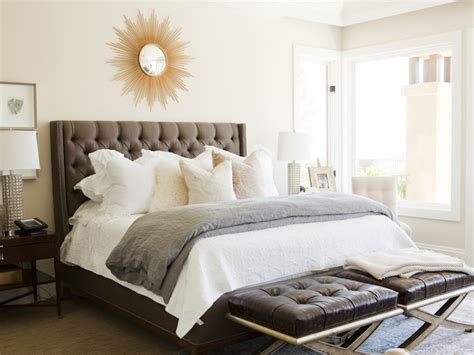 bedroom with grey upholstered headboard gray tufted headboard contemporary bedroom