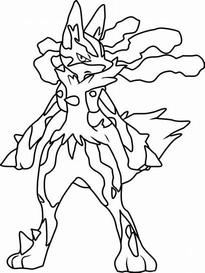 Lucario Pokemon Coloring Mega Pages Angry Printable