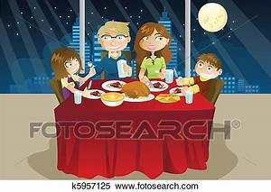 Clipart of Family eating dinner k5957125 - Search Clip Art ...