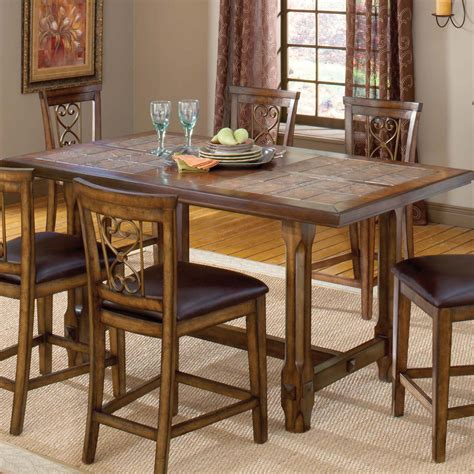 tile top kitchen table villagio trestle counter height dining table by hillsdale home sweet home dining 6187
