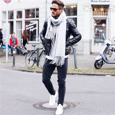 Mens street style. White scarf. Black leather jacket. Black denim. White shoes. | Life is better ...