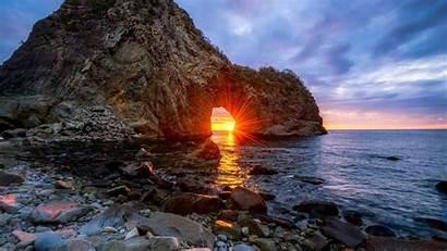 Sunset Water Sun Sea Mountains Landscape Japan