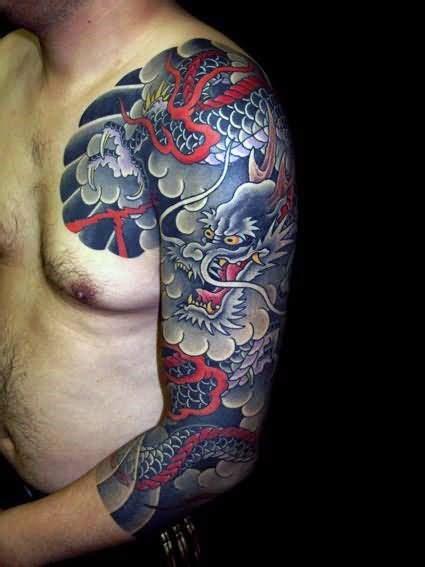 dragon  sleeve tattoos  men fire spewing design ideas