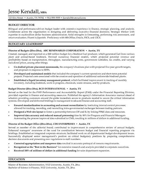 Budget Management On Resume by Sle Resume For Budget Analyst