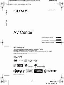 Sony Xav70bt Av Center User Manual Xav 70bt