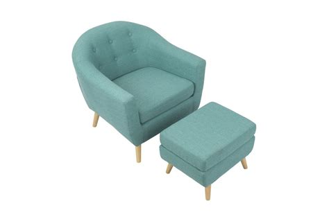 rockwell mid century modern chair with ottoman in teal by lumisource fdrop 161229
