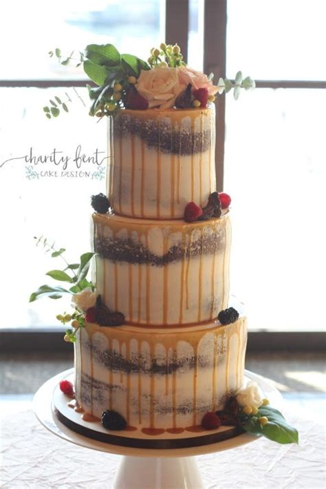 tier naked cake  caramel drizzle charity fent cake