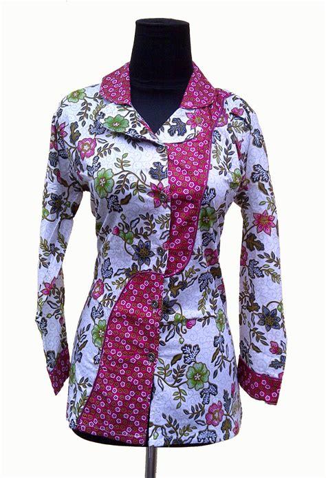 atasan gamis selutut lengan pendek model baju batik kerja wanita modern awal tahun 2016