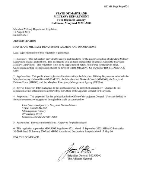 maryland military department regulation   awards