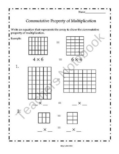 commutative property of multiplication worksheets common