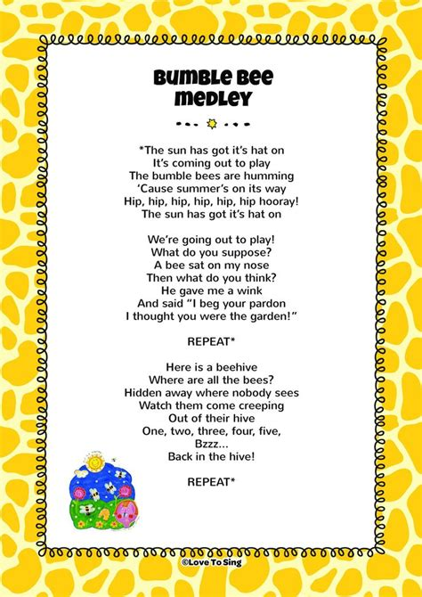 preschool bumble bee song lyrics the 28 best images about animal amp farm rhymes on 810