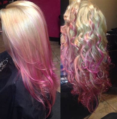 Pink Hair Pink Ombré Blonde Pink Hair Straight Curly