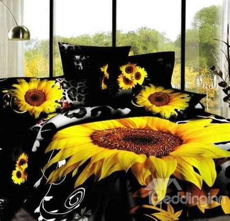 sunflower leopard printed cotton  piece black bedding