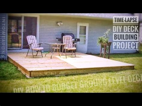 diy deck time lapse building  ground level deck youtube
