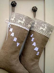These unique burlap stockings are easy to trim with for Felt letters for stockings