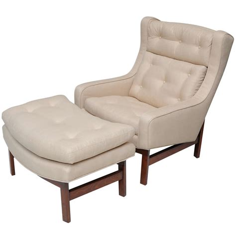wing chair with ottoman a dunbar dark walnut wing chair and ottoman at 1stdibs