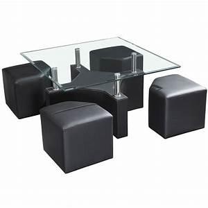 Table Basse 4 Poufs : table basse avec plateau en verre tremp et 4 poufs en pvc noir dya ~ Teatrodelosmanantiales.com Idées de Décoration