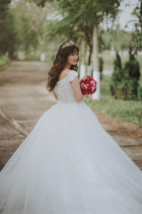 photo   woman   wedding dress  stock photo