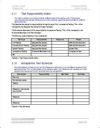 Server Test Plan Template by Acceptance Test Plan Template Free Logs Forms And