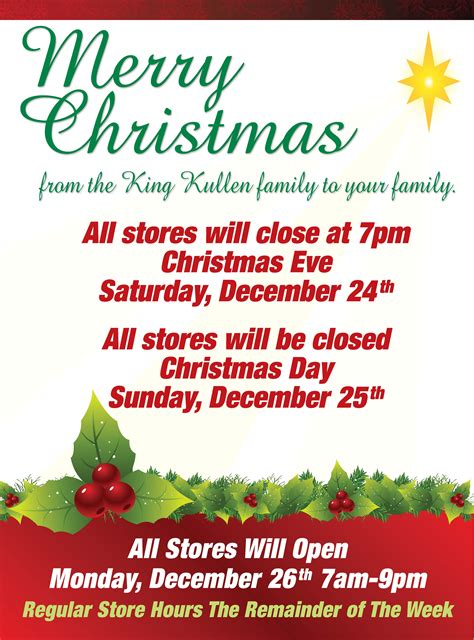 Christmas Store Hours - King Kullen