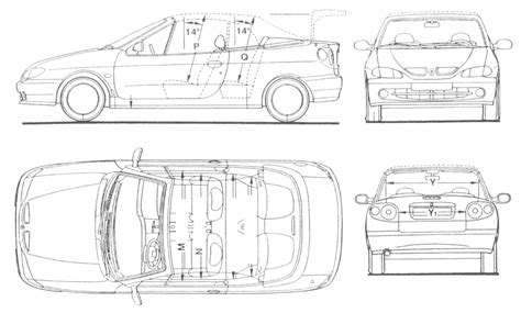 1999 renault megane cabriolet blueprints free outlines