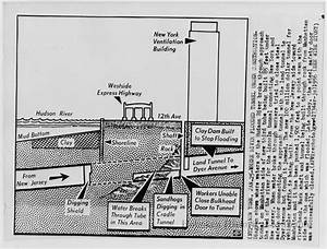 B W Photo Of Diagram Of Lincoln Tunnel Flooding During