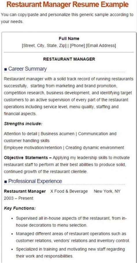 100 restaurant owner description for resume
