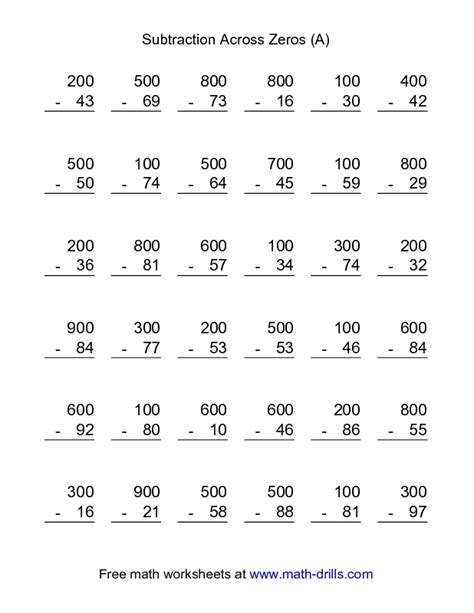 3rd grade math worksheet 3 digit subtraction subtraction worksheet subtraction across zeros 36