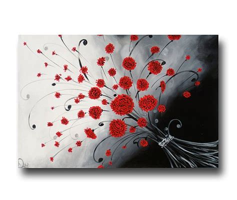 Abstract Black Flower Painting by Abstract Flower Painting Black White Painting
