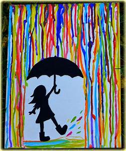 simple painting ideas canvas girl under the rain ...