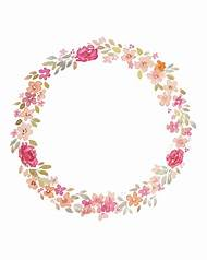 Watercolor Flower Circle Border