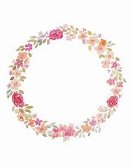 Watercolor Flower Circle Border