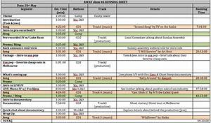 preparing an audio visual event run sheet rtr productions With event run sheet template