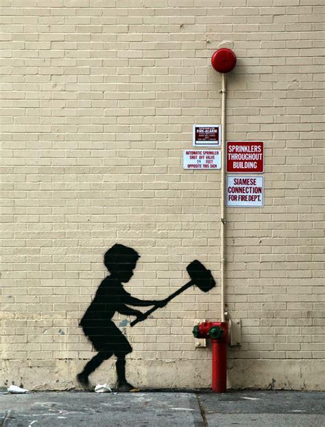 Banksy Hammer Boy New Street Piece Upper West Side