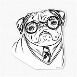 Pug Coloring Pugs Printable Drawing Dog Puppy Colouring Sheets Clipart Harry Cartoon Decal Sticker Getcolorings Adults Lover Gifts Library Chihuahua sketch template