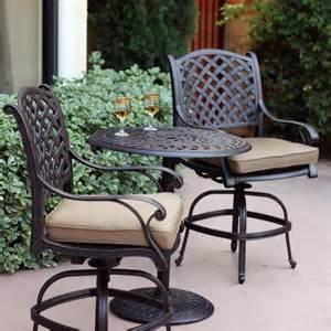 darlee nassau 3 cast aluminum patio counter height bar set with swivel bar stools