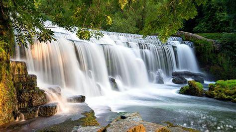 Cascades Waterfall Falling Wide Desktop Background 01674